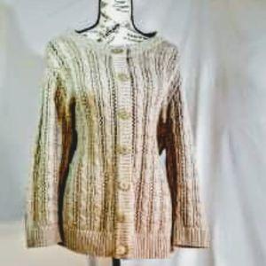 Nwot! CJ Banks tan button-up cardigan sweater
